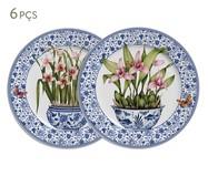 Jogo de Pratos para Sobremesa em Cerâmica Pot de Fleur - Colorido | WestwingNow