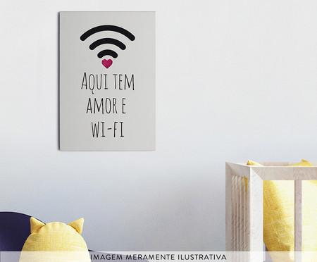 Placa de Madeira Estampada Aqui Tem Amor e Wi-Fi | WestwingNow