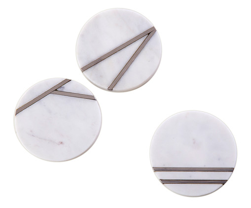 Jogo Porta-copos Marmor 3 Peças, Branco | WestwingNow