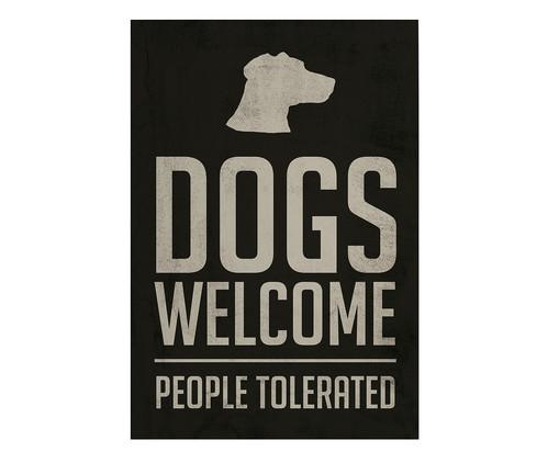 Placa de Madeira Estampada Dogs Welcome, Preto, Branco | WestwingNow