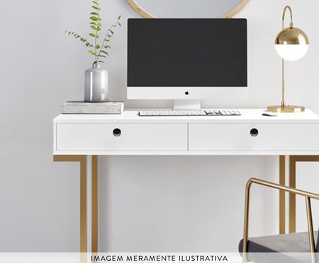 Escrivaninha Glamour - Branco e Dourado | WestwingNow