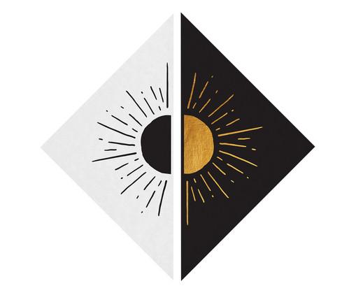 Placa de Madeira Estampada Diederik, Preto, Branco, Dourado | WestwingNow