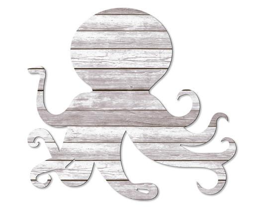 Placa de Madeira Estampada O Polvo, Preto, Branco | WestwingNow