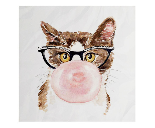 Placa de Madeira Estampada Gato Mascando Chiclete, Colorido | WestwingNow