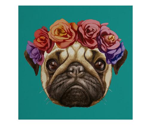 Placa de Madeira Estampada Cachorro com Coroa de Flores, Colorido | WestwingNow