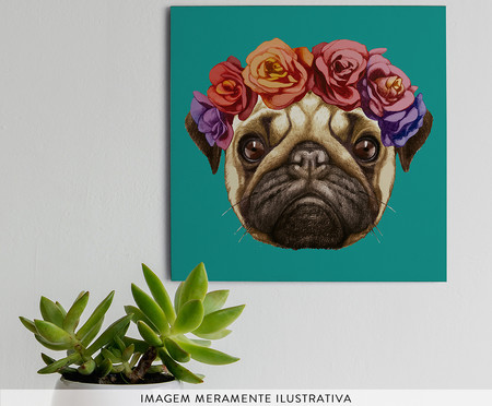 Placa de Madeira Estampada Cachorro com Coroa de Flores   WestwingNow