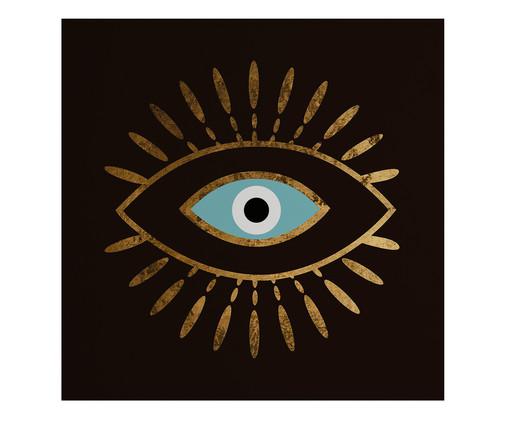 Placa de Madeira Estampada Olho, Preto, Branco, Dourado | WestwingNow