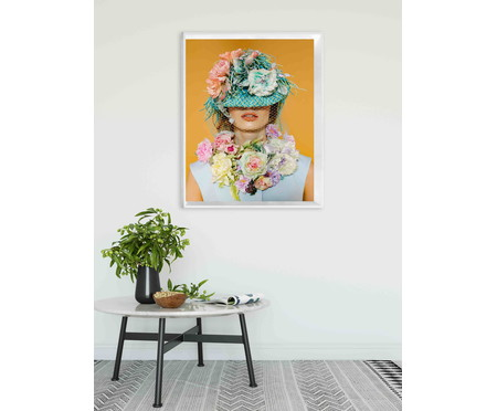 Quadro com Vidro Menina com Flores - 100x80 | WestwingNow