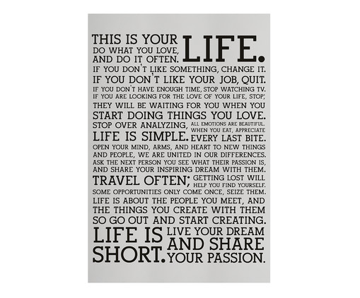 Placa de Madeira Estampada This Is Your Life, Preto, Branco | WestwingNow