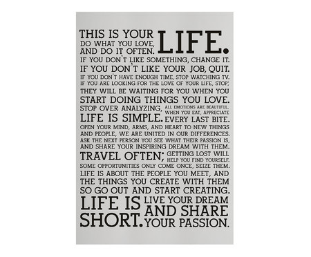 Placa de Madeira Estampada This Is Your Life | WestwingNow