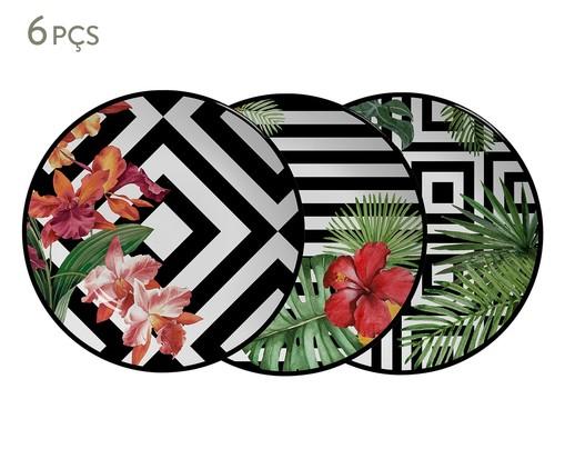 Jogo de Pratos Rasos em Cerâmica Tropicalha 06 Pessoas - Colorido, Colorido | WestwingNow