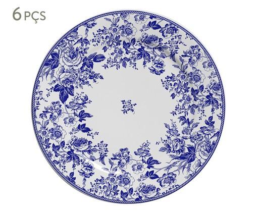 Jogo de Pratos para Sobremesa Blue Garden em Cerâmica 06 Pessoas - Azul e Branco, Azul,Branco | WestwingNow