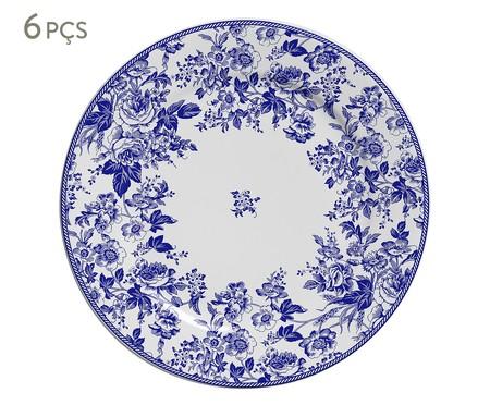 Jogo de Pratos para Sobremesa Blue Garden em Cerâmica 06 Pessoas - Azul e Branco | WestwingNow