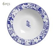 Jogo de Prato Fundo Blue Garden em Cerâmica 06 Pessoas - Azul e Branco | WestwingNow