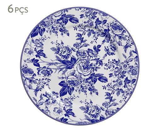 Jogo de Pratos Rasos em Cerâmica Blue Garden - Azul, Azul,Branco | WestwingNow