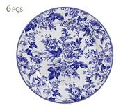 Jogo de Pratos Rasos em Cerâmica Blue Garden 06 Pessoas - Azul e Branco | WestwingNow