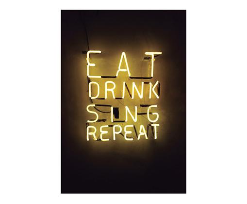 Placa de Madeira Estampada Eat Drink Sing Repeat, Colorido | WestwingNow
