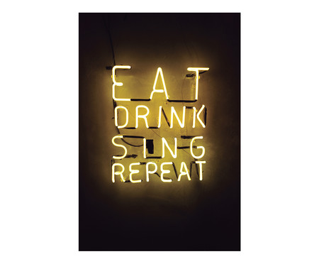Placa de Madeira Estampada Eat Drink Sing Repeat | WestwingNow