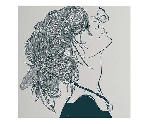 Placa de Madeira Estampada Menina com Borboleta, Colorido | WestwingNow