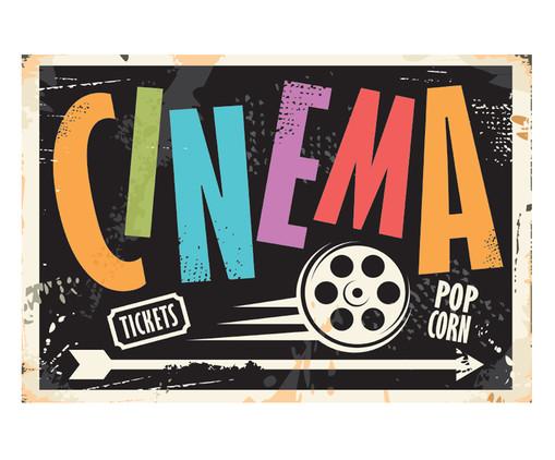 Placa de Madeira Estampada Cinema, Colorido | WestwingNow