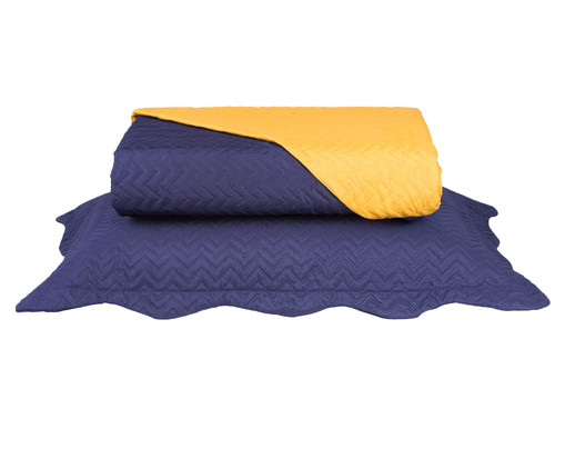 Jogo de Cobre-Leito Ultrasonic Chevron, Azul Marinho / Amarelo | WestwingNow