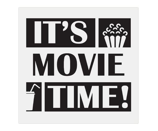 Placa de Madeira Estampada It's Movie Time!, Preto, Branco | WestwingNow