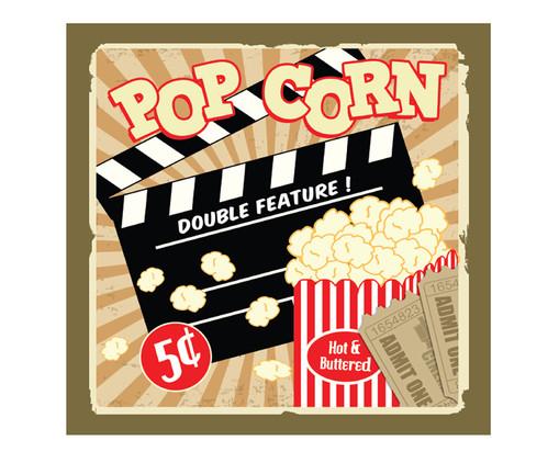 Placa de Madeira Estampada Popcorn Double Feature, Colorido | WestwingNow
