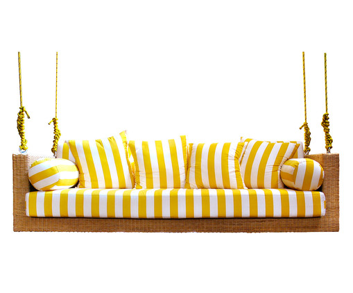 Sofá de Balanço de Fibra Sintética Maragogi - Branco e Amarelo, Branco, Amarelo | WestwingNow
