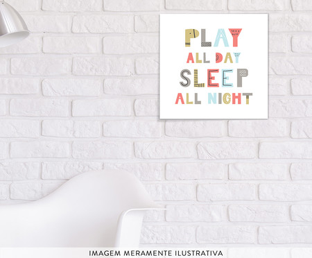 Placa de Madeira Estampada Play And Sleep | WestwingNow
