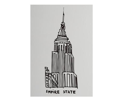 Placa de Madeira Estampada Empire State, Preto, Branco | WestwingNow