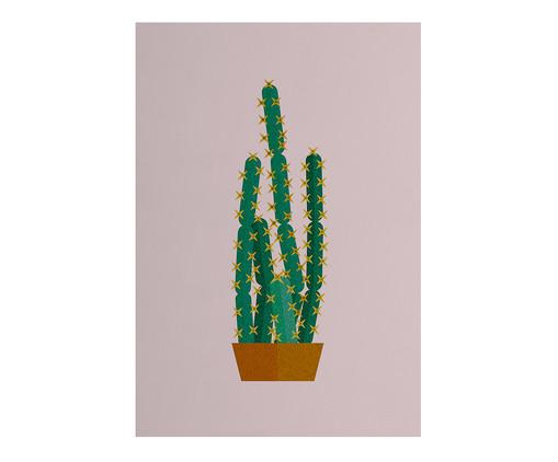 Placa de Madeira Estampada Vaso de Cactus, Colorido | WestwingNow