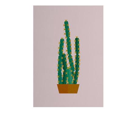 Placa de Madeira Estampada Vaso de Cactus | WestwingNow