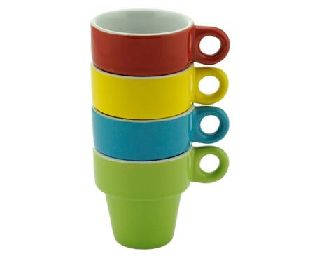 Jogo de Xícaras para Café com Pires em Porcelana Clara Colors - Multicolor | WestwingNow