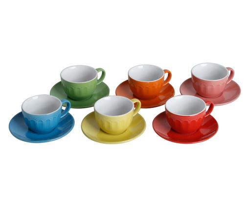 Jogo de Xícaras para Chá com Pires em Porcelana July Colors 06 Pessoas - Multicores, Colorido   WestwingNow