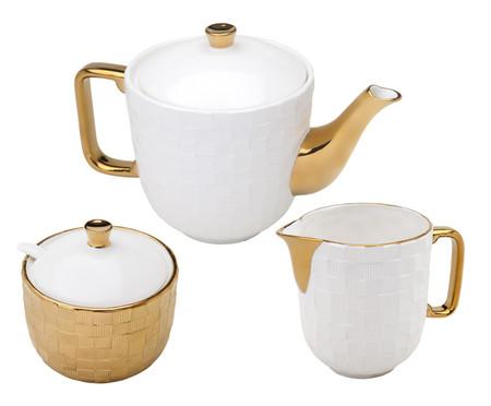 Jogo para Servir Chá em Porcelana Rose - Dourado | WestwingNow