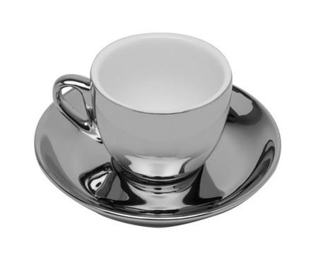 Jogo de Xícaras para Café com Pires em Porcelana Amberg - Prata | WestwingNow