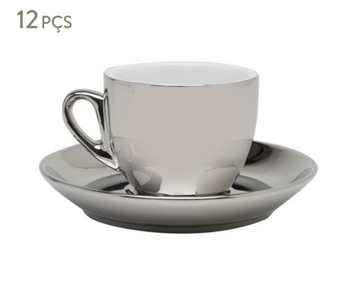 Jogo de Xícaras para Café com Pires em Porcelana Amberg - Prata, Prata | WestwingNow
