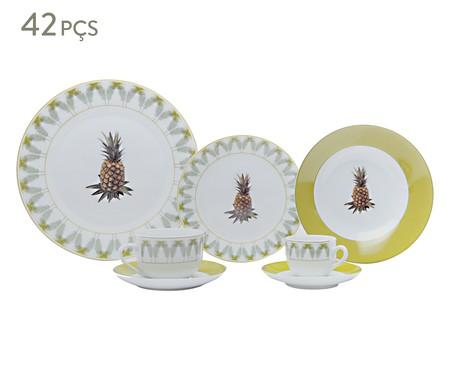Jogo de Jantar Abacaxi em Porcelana 06 Pessoas - Branco e Amarelo | WestwingNow