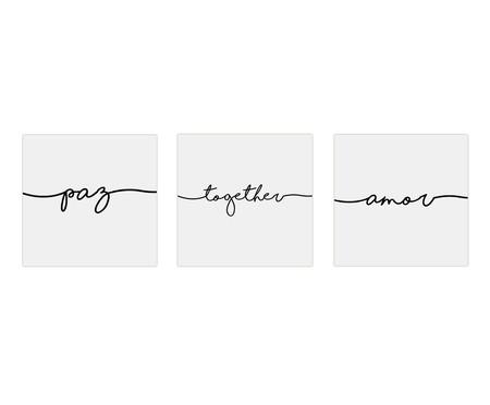 Jogo de Placas de Madeira Estampadas Paz Together Amor | WestwingNow