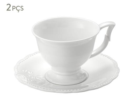 Xícara para Café com Pires em Porcelana Haydee - Branco, Branco   WestwingNow