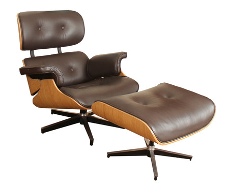 Poltrona e Pufe em Couro Charles Eames - Marrom e Jacarandá | WestwingNow