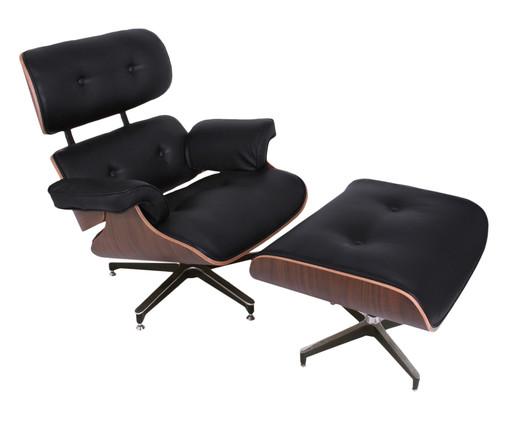 Poltrona e Pufe em Couro Charles Eames - Preta e Imbuia, preto,madeira | WestwingNow