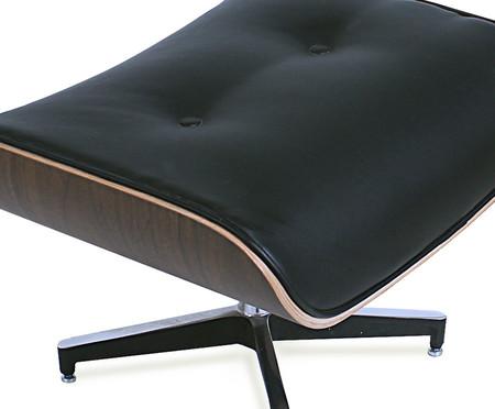 Poltrona e Pufe em Couro Charles Eames - Preta e Imbuia | WestwingNow