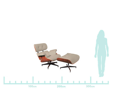 Poltrona e Pufe em Couro Ecológico Charles Eames - Gelo e Caramelo | WestwingNow