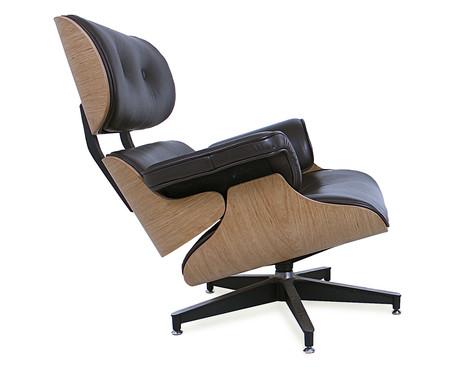 Poltrona e Pufe em Couro Ecológico Charles Eames - Preta e Jacarandá | WestwingNow