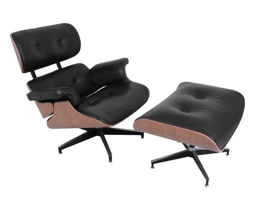 Poltrona e Pufe em Couro Ecológico Charles Eames - Preta e Jacarandá, preto,madeira   WestwingNow