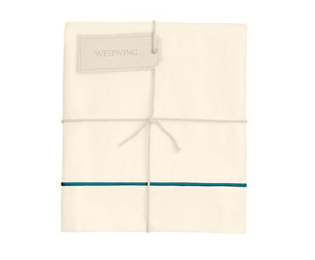 Lençol Superior com Vivo Basic Palha e Azul Petróleo - 250 Fios | WestwingNow
