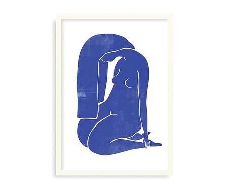 Quadro Woodblock Girl Blue Branco - 45,5x63cm | WestwingNow