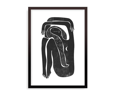 Quadro Woodblock Girl Moon Preto - 45,5x63cm | WestwingNow
