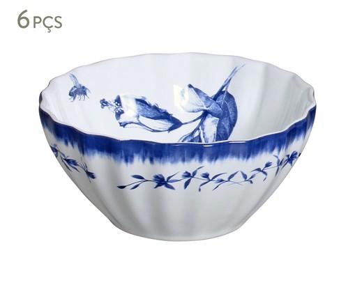 Jogo de Bowls em Cerâmica Demoiselle 06 Pessoas - Branco e Azul, Branco | WestwingNow